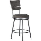Hillsdale Furniture Melange Upholstered Wood Back Swivel Counter Stool
