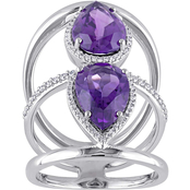 Sofia B. 14K White Gold Amethyst and 3/8 CTW Diamond Ring Size 7