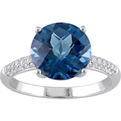 Sofia B. 14K White Gold Blue Topaz 1/5 CTW Diamond Ring
