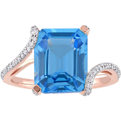 Sofia B. Blue Topaz and 1/4 CTW Diamond Bypass Cocktail Ring in 14K Rose Gold
