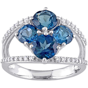 Sofia B. Blue Topaz and 1/4 CTW Diamond Floral Ring in 14K White Gold