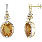 Sofia B. 14K Yellow Gold Citrine and 3/4 CTW Diamond Spiral Earrings