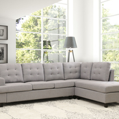 Abbyson Kandace Tufted Fabric Sectional