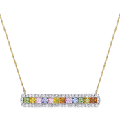 Sophia B. 14K Yellow Gold Multi Color Sapphire Bar Necklace