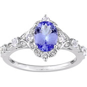 Sofia B. 14K White Gold Tanzanite, White Sapphire and Diamond Accent Vintage Ring