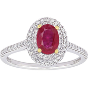 Sofia B. 14K Two Tone Gold Oval Ruby and 1/3 CTW Diamond Double Halo Ring