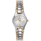 Bulova Women's Silver White Dial Bracelet Watch  2142790