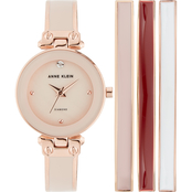 Anne Klein Diamond Accented Rose Goldtone and Blush Pink Watch and Bangle Set