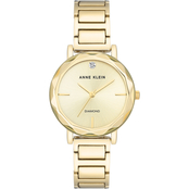 Anne Klein Women's Genuine Diamond Dial Goldtone Bracelet Watch AK/3278CHGB