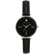 Anne Klein Women's Genuine Diamond Dial Goldtone and Black Leather Strap Watch
