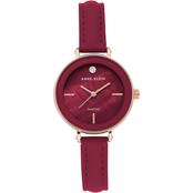 Anne Klein Women's Diamond Accent Rose Goldtone and Burgundy Leather Strap Watch