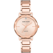 Anne Klein Women's Genuine Diamond Dial Rose Goldtone Bracelet Watch AK/3278RGRG