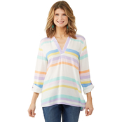 Passports Roll Sleeve Asymmetrical Hem Stripe Tunic Top