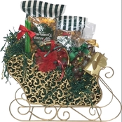 Naper Nuts & Sweets Golden Scrolls Popcorn and Candy Christmas Sleigh