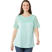 Passports Eyelet Yoke Sleeve Top