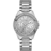 Guess Rhinestone Silvertone Multifunction Watch U1156L1
