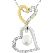 10K Yellow Gold Over Sterling Silver Pearl with Created Sapphire Heart Pendant