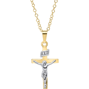 Kids 14K Gold Filled Two Tone Crucifix Cross Pendant
