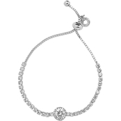Anne Klein Silvertone Crystal Center Stone Bracelet
