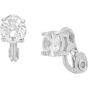 Anne Klein Silvertone Fancy Cubic Zirconia Button Earrings