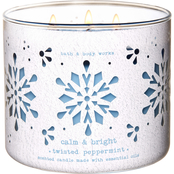 Bath & Body Works O What Fun Decor: Twisted Peppermint 3 Wick Candle