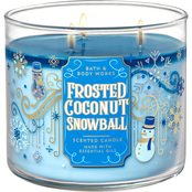 Bath & Body Works Holiday Traditions: 3 Wick Candle Frosted Coconut Snowball