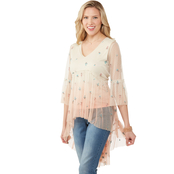JW High Low Embroidered Mesh Ombre Top with Tank