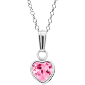 Kids Sterling Silver Pink Cubic Zirconia Heart Pendant