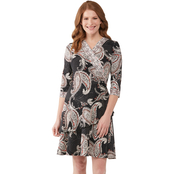 Robbie Bee Allover Paisley Printed Puff ITY Dress