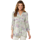 Passports Cloud Dancer Button Front Crinkle Woven Blouse
