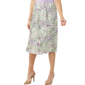 Passports Cloud Dancer Long Woven Pleated Skirt with Elastic Waist