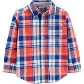 Carter's Toddler Boys Plaid Poplin Button Front Shirt