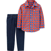 Carter's Toddler Boys Plaid Button Front Top and Twill Denim Pants 2 pc. Set