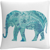 Trademark Fine Art Danhui Nai Boho Teal Elephant II Decorative Throw Pillow
