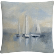 Trademark Fine Art Silvia Vassileva Morning Sail I Blue Decorative Throw Pillow