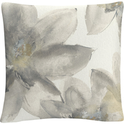 Trademark Fine Art Chris Paschke Gray and Silver Flowers I Decorative Throw Pillow