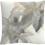 Trademark Fine Art Chris Paschke Gray and Silver Flowers II Decorative Throw Pillow