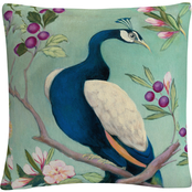 Trademark Fine Art Julia Purinton Pretty Peacock I Decorative Throw Pillow