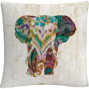 Trademark Fine Art Danhui Nai Boho Paisley Elephant III Decorative Throw Pillow