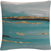 Trademark Fine Art Chris Paschke Gilded Storm II Teal Grey Crop Decorative Pillow