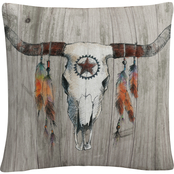 Trademark Fine Art Avery Tillmon Longhorn on Dark Gray Wood Decorative Throw Pillow