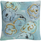 Trademark Fine Art Chris Paschke Gold Edged Teal I Decorative Throw Pillow