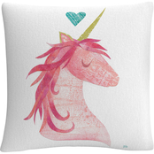Trademark Fine Art Melissa Averinos Unicorn Magic I Heart Throw Pillow