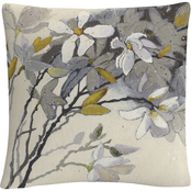 Trademark Fine Art Shirley Novak Magnolias Yellow Gray Decorative Throw Pillow