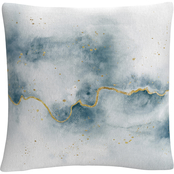 Trademark Fine Art Laura Marshall Flow with Gold Decorative Throw Pillow
