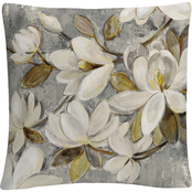 Trademark Fine Art Silvia Vassileva Magnolia Simplicity Neutral Gray Pillow