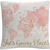 Trademark Fine Art Sue Schlabach Across The World Shes Going Places Pink Pillow