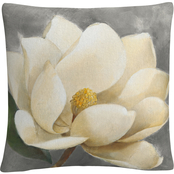 Trademark Fine Art Albena Hristova Magnolia Blossom on Gray Decorative Throw Pillow