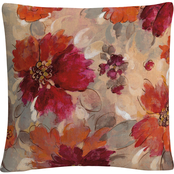 Trademark Fine Art Silvia Vassileva Magenta and Coral Floral Decorative Pillow