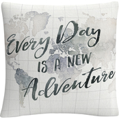 Trademark Fine Art Laura Marshall Watercolor Wanderlust World Adventure Pillow